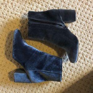 Velvet Blue Ankle Boots